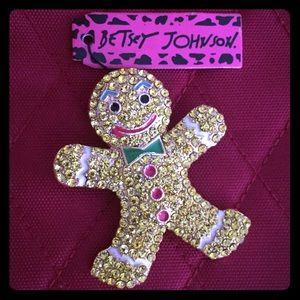 Betsey Johnson Gingerbread Man Pin Brooch